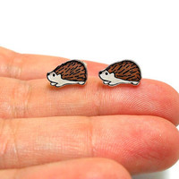 Lil' Hedgehogs Post Earrings by kteediid on Etsy