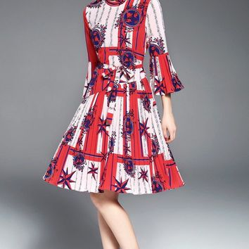 Bell Sleeve Pleated Dress