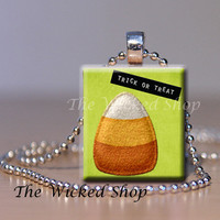Scrabble Tile Pendant Necklace - Halloween Pendant Candy Corn TRICK OR TREAT - Free Silver Plated Ball Chain (hocus14)