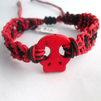 Skull Hemp Bracelet Red Black Gothic Skull Jewelry