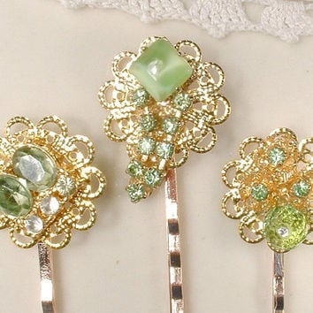 OOAK Mint Green Bridal Hair Pins, Vintage Light Green Rhinestone Gold Bobby Pins, Keepsake Clip Set 3, Bridesmaids Gift Wedding Accessories