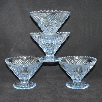 Art Deco Glass Dessert or Sherbet Bowls x 4, Pale Blue, Sorbet, Ice Cream, Starter Dishes, Pressed or Depression Glass, Retro, Kitchenalia
