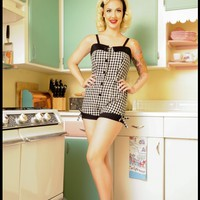 Pinup Playsuit in Black Gingham | Pinup Girl Clothing