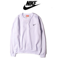 NIKE fashion round neck sets of long-sleeved sweater sweater autumn and winter sports couple Sweater White