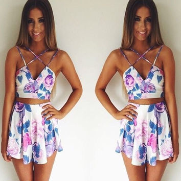Feelingirl beach woman dress print flower short mini dress summer plus size sleeveless plyasuit sexy 2 pieces backless top+bottom set [8424378887]