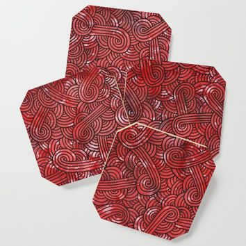 Red and black swirls doodles Coaster by savousepate