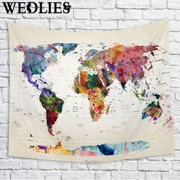 Wall Hanging World Map Tapestry Indian Mandala Throw Blanket Bedspread Polyester Home Dorm Living Room Decoration 150X130cm