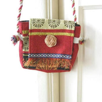 Small Red Bohemian Woven Purse w/ Fabric Flower; Handmade Asian/Tibetan-Style Ethnic Shoulder Bag; U.S. Shipping Included