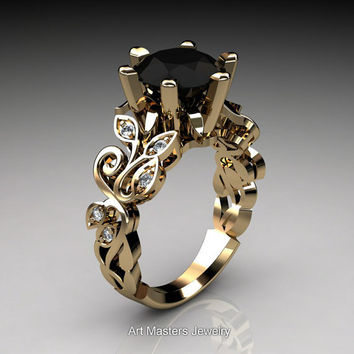 Nature Inspired 14K Yellow Gold 3.0 Ct Black and White Diamond Leaf and Vine Crown Solitaire Ring RD101-14KYGDBD