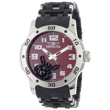 Invicta 1122 Men's Sea Spider Red Dial Black Rubber & Stainless Steel Watch