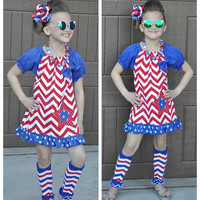 4th of July Dress, Girls 4th of July Outfit, Chevron Dress, 4th of July Outfit, Toddler 4th of July Dress, America Dress,Memorial Day Outfit