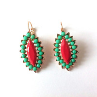 Eye Aqua Earrings, Light Green, Red, Beaded, Beads, Dangle