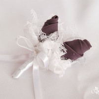 White and purple groom, best man brooch with lace, tulle, satin, silk