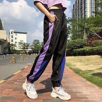 Women Fashion Personality Multicolor Stitching High Waist Leisure Pants Trousers Sweatpants