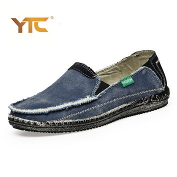Mens Breathable High Quality Casual Shoes Jeans Canvas Casual Shoes Slip On men Fashion Flats Loafer