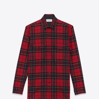 Saint Laurent Signature Patch Pocket Shirt In Red And Black Plaid Wool | ysl.com