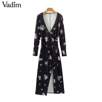 Floral pattern velvet V neck wrap dress bow tie belt loose long sleeve chic vintage midi dress