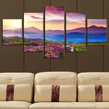 Art Oil Painting 5 Piece(No Frame) The mountain modern Picture HD