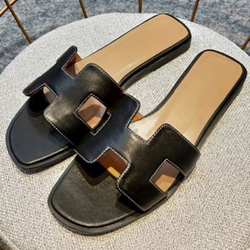 Hermes flat bottom casual H slippers wild female beach sandals and slippers Black