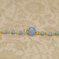 Lucky 7 Collection: Periwinkle & Gold - Faceted Blue/Purple Beaded Necklace on Gold Chain