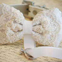 White Bow Tie Dog ring bearer Wedding  Pet lovers, Chic and Classy, Lace wedding