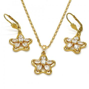 Gold Layered 10.287.0002 Necklace and Earring, Star and Flower Design, with White Cubic Zirconia, Polished Finish, Gold Tone