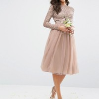Maya Long Sleeved Midi Dress with Delicate Sequin and Tulle Skirt at asos.com
