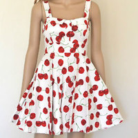 NWT Modcloth 50s Style WHITE CHERRY Bombshell PINUP Full Skirt  CHERRY Sun Dress