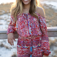 Slice Of Life Off The Shoulder Aztec Red Romper