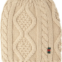 Gucci|Cable-knit wool beanie|NET-A-PORTER.COM