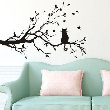 Cat Sitting On Tree Wall Stickers Art Animal Vinyl Sticker Removable Self Adhesive Decal Sofa Background Kids Room D501C