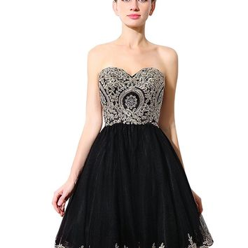 Women's Lace Short Prom Party Ball Gowns Sweetheart Homecoming Dresses