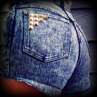 "Vintage High Waisted Studded Acid Wash Pure Jeanswear Cut Off Shorts 26"" Waist"
