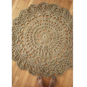 "Jute Crochet Doily Rug Pineapple Pattern 45"" READY to SHIP"