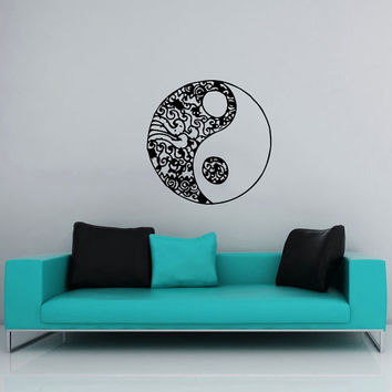 Wall Decal Vinyl Sticker Decals Art Home Decor Murals Yin Yang Symbol Floral Patterns Ornament Geometric Chinese Asian Religious Decal AN568