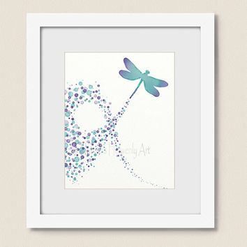 8 x 10 Circle Nursery Wall Art Dragonfly Print, Auqa Purple Home Decor, Girls Room Wall Decor (246)