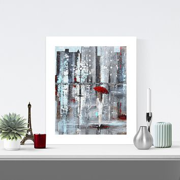 """A Trip to Tiffanys"" LIMITED EDITION, MATTED & SIGNED by Artist Giclee Print Figurative Painting Girl Red Umbrella 16x20"""