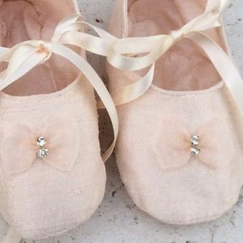 Pink Silk Crib Shoes by Elena