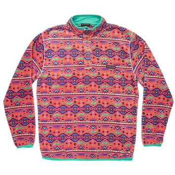 Dorado Fleece Pullover in Coral and Teal by Southern Marsh - FINAL SALE