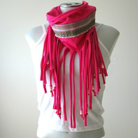 Fringe Tshirt Scarf with beads and Native trim, Fuchsia, festival clothing