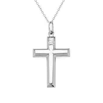 Sterling Silver Cross Charm Chain Necklace Men's