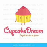 OOAK Premade Logo Design - Cupcake Dream Pink Yellow - Perfect for a cupcake artist or a bakery business