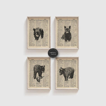 Baby Bear Print Set, Book Page Print, Bear Cub, Baby Shower Gift, Little Bear, Bear Cub Print, Nursery Animal Print, Nursery Decor, Unframed