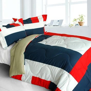 [Loving Lorraine] Quilted Patchwork Down Alternative Comforter Set (King Size)