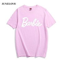 JuneLove Letter Print Cotton T-Shirt Women Sexy Tumblr Graphic tee pink grey t shirt Casual tshirts Bae Tops Outfits tees Shirts