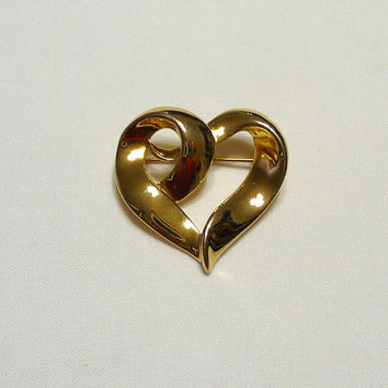 Vintage Heart Brooch ,Costume Jewelry, Vintage Jewelry, Gold Tone, Dressy Casual, 131104-1-3