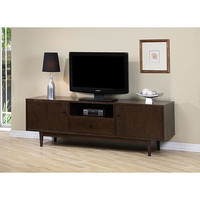 Modern Entertainment Center TV Stand in Dark Walnut Finish