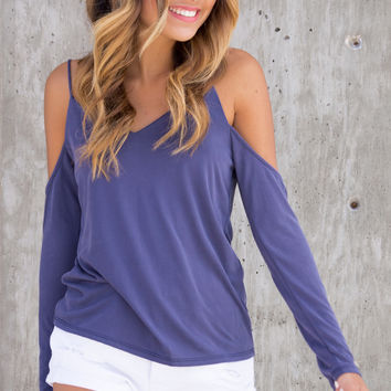 Perla Cold Shoulder V-Neck Top - Blue