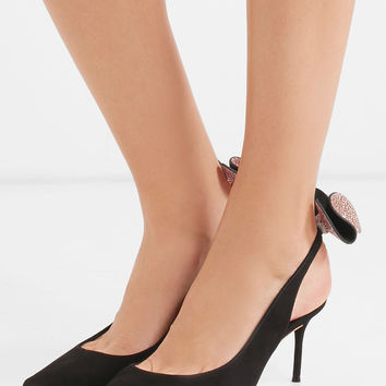 Sophia Webster - Edie bow-embellished suede slingback pumps