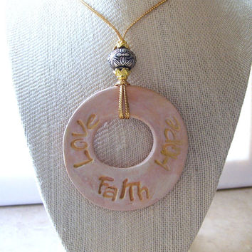 Faith, Hope and Love Personal Oil Diffuser Necklace Aromatherapy Clay Pendant with Gold and Silver Accents Gold Rope Necklace Essential Oils